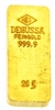 Degussa 20 Grams 24 Carat Gold Bullion Bar 999.9 Pure Gold