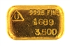 Delta Smelting & Refining Co. Ltd 3.5 Ounces Cast 24 Carat Gold Bullion Bar 999.5 Pure Gold