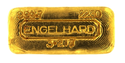 Engelhard 100 Grams (3.217 Oz.) Cast 24 Carat Gold Bullion Bar 999.7 Pure Gold