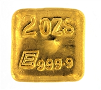 Engelhard 2 Ounces Cast 24 Carat Gold Bullion Bar 999.9 Pure Gold