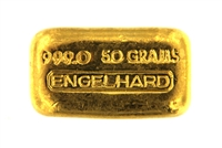 Engelhard 50 Grams Cast 24 Carat Gold Bullion Bar 999.0 Pure Gold