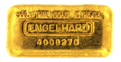 Engelhard 5 Ounces Cast 24 Carat Gold Bullion Bar 999.9 Pure Gold