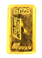 Engelhard London 5 Ounces Cast 24 Carat Gold Bullion Bar 999.9 Pure Gold