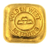Golden West Refining 1 Ounce Cast 24 Carat Gold Bullion Bar 999.9 Pure Gold