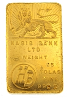 Habib Bank 25 Tolas (291.5 Gr.) 24 Carat Gold Bullion Bar 995.2 Pure Gold