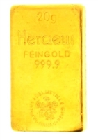 Heraeus Edelmetalle GmBh 20 Grams 24 Carat Gold Bullion Bar 999.9 Pure Gold