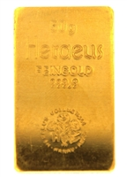 Heraeus Edelmetalle GmBh 50 Grams 24 Carat Gold Bullion Bar 999.9 Pure Gold