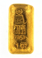 Harringtons Metallurgists 1 Ounce Cast 24 Carat Gold Bullion Bar 996.3 Pure Gold