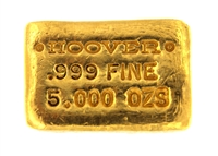 Hoover & Strong 5 Ounces Cast 24 Carat Gold Bullion Bar 999 Pure Gold