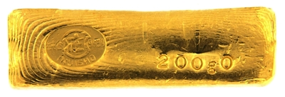 Inuisho 200 Grams Cast 24 Carat Gold Bullion Bar 999.9 Pure Gold