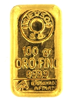 Inversor S.A 100 Grams Cast 24 Carat Gold Bullion Bar 999.9 Pure Gold