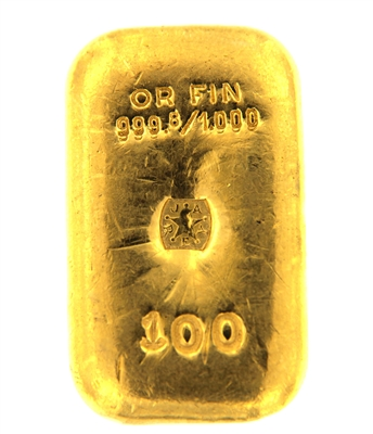 J. A. REY & Co 100 Grams Cast 24 Carat Gold Bullion Bar 999.8/1000 Pure Gold