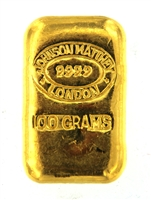 Johnson Matthey 100 Grams Cast 24 Carat Gold Bullion Bar 999.9 Pure Gold