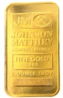 Johnson Matthey 1 Ounce Minted 24 Carat Gold Bullion Bar 999.9 Pure Gold
