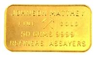 Johnson Matthey 50 Grams 24 Carat Gold Bullion Bar 999.9 Pure Gold