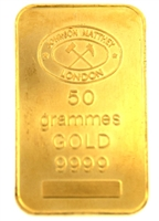 Johnson Matthey 50 Grams Minted 24 Carat Gold Bullion Bar 999.9 Pure Gold