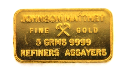 Johnson Matthey 5 Grams Minted 24 Carat Gold Bullion Bar 999.9 Pure Gold