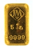 Johnson Matthey 5 Ounces Cast 24 Carat Gold Bullion Bar 999.9 Pure Gold