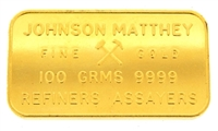 Johnson Matthey 100 grams 24 Carat Gold Bullion Bar 999.9 Pure Gold