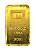 Johnson Matthey & Pauwels 5 Grams Minted 24 Carat Gold Bullion Bar 999.9 Pure Gold