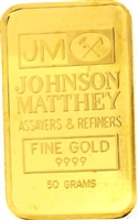 Johnson Matthey & Kredietbank S.A Luxembourgeoise 50 Grams Minted 24 Carat Gold Bullion Bar 999.9 Pure Gold