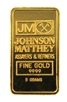 Johnson Matthey & Kredietbank Luxembourg 5 Grams Minted 24 Carat Gold Bullion Bar 999.9 Pure Gold