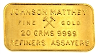 Johnson Matthey, London 20 Grams Minted 24 Carat Gold Bullion Bar 999.9 Pure Gold