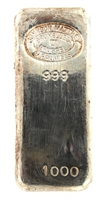 Johnson Matthey & Pauwels 1 Kilogram Cast 24 Carat Silver Bullion Bar 999 Pure Silver