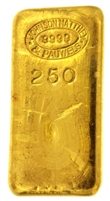 Johnson Matthey & Pauwels 250 Grams Cast 24 Carat Gold Bullion Bar 999.9 Pure Gold