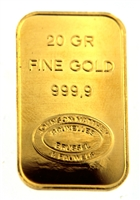 Johnson Matthey & Pauwels - Kredietbank S.A Luxembourgeoise 20 Grams Minted 24 Carat Gold Bullion Bar 999.9 Pure Gold