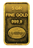 Johnson Matthey & Pauwels - Kredietbank S.A Luxembourgeoise 5 Grams Minted 24 Carat Gold Bullion Bar 999.9 Pure Gold