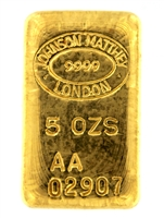 Johnson Matthey & Republic National Bank of New York 5 Ounces Cast 24 Carat Gold Bullion Bar 999.9 Pure Gold