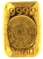 King Fook, Hong Kong 1 Tael (37.42 Gr.) Cast 24 Carat Gold Bullion Bar (1.203 Oz.) 999.9 Pure Gold