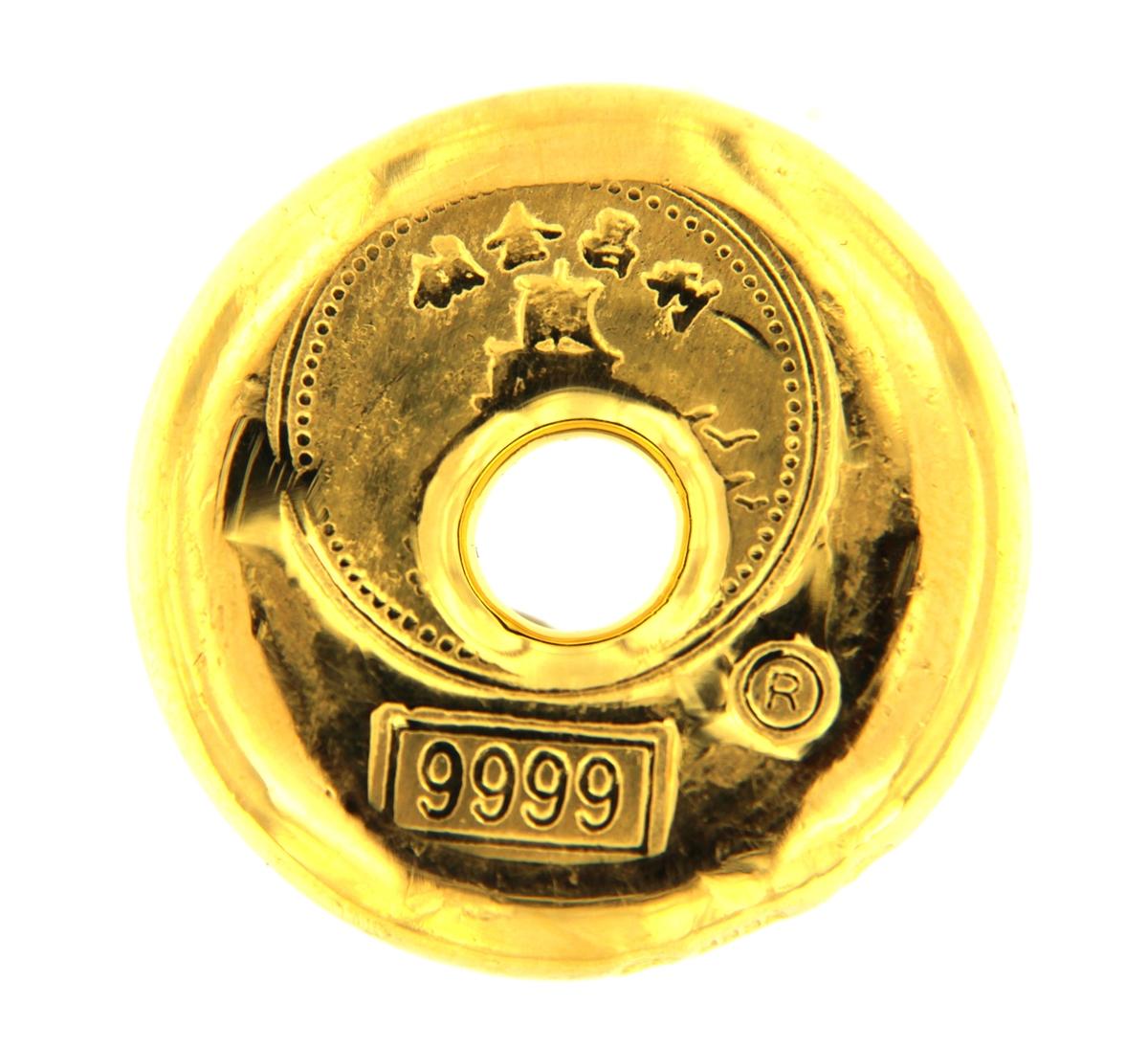 Lee Cheong Hong Kong 1 Tael 37 42 Gr Cast 24 Carat Gold Bullion Doughnut Bar 203