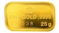 Logam Mulia 25 Grams Minted 24 Carat Gold Bullion Bar 999.9 Pure Gold with Assay Certificate