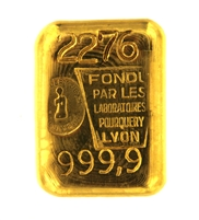 Laboratoires Pourquery 100 Grams Cast 24 Carat Gold Bullion Bar 999.9 Pure Gold