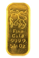 Merrill Lynch 5 Ounces Cast 24 Carat Gold Bullion Bar 999.9 Pure Gold
