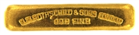 N.M Rothschild & Sons 10 Tolas (116.6 Gr.) Cast 24 Carat Gold Bullion Bar 996 Pure Gold