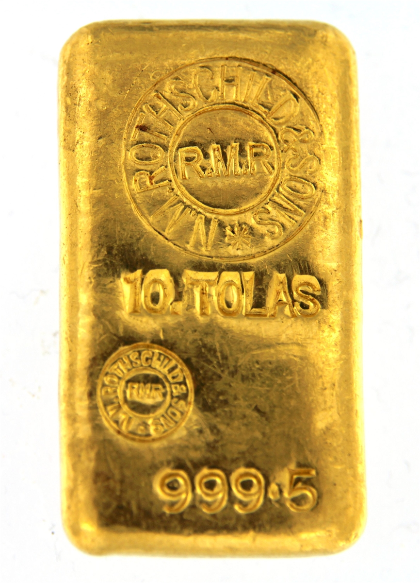 N M Rothschild Sons Samuel Montagu Co 10 Tolas 116 6 Gr Cast 24 Carat Gold Bullion Bar 999 5 Pure Usually Delivers In 2 To Business Days
