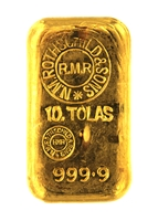 N.M Rothschild & Sons 10 Tolas (116.6 Gr.) Cast 24 Carat Gold Bullion Bar 999.9 Pure Gold