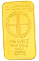 Oman International Bank 1 Ounce Minted 24 Carat Gold Bullion Bar 999.9 Pure Gold