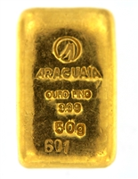 Araguaia Brazil 50 Grams Cast 24 Carat Gold Bullion Bar 999 Pure Gold
