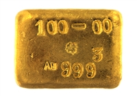 P.C. Boschmans 100 Grams Cast 24 Carat Gold Bullion Bar 999.3 Pure Gold