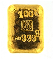 P.C. Boschmans 100 Grams Cast 24 Carat Gold Bullion Bar 999.9 Pure Gold