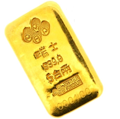 Pamp Suisse 5 Tael (6.01 Oz - 187.5 Gr.) Cast 24 Carat Gold Bullion Bar 999.9 Pure Gold with Assay Certificate