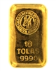 Rand Refinery 10 Tolas (116.6 Gr.) Cast 24 Carat Gold Bullion Bar 999.0 Pure Gold