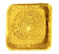 N.M Rothschild & Sons 2 Ounces Cast 24 Carat Gold Bullion Bar 999.9 Pure Gold
