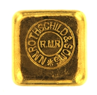 N.M Rothschild & Sons 2 Ounces Cast 24 Carat Gold Bullion Bar 995.0 Pure Gold
