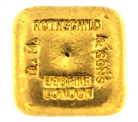 N.M Rothschild & Sons 5 Tolas (58.3 Gr.) Cast 24 Carat Gold Bullion Bar 996.0 Pure Gold