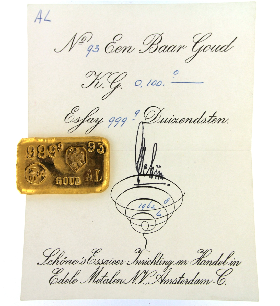 Schöne Edelmetaal 100 Grams Cast 24 Carat Gold Bullion Bar 9999 Pure Gold With Assay Certificate 1962